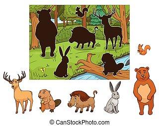 Forest cartoon animals with shadows vector