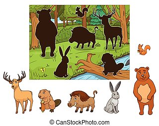 Forest cartoon animals with shadows vector