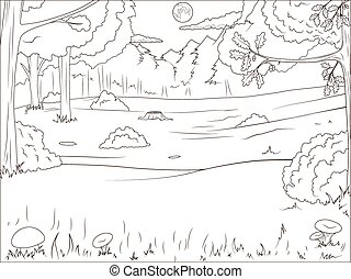 Forest cartoon coloring book educational game