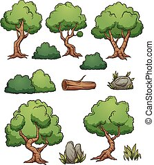 Forest cartoon trees and bushes