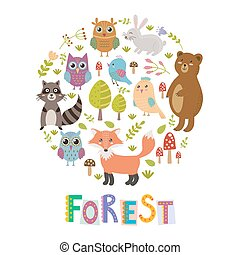 Forest circle shape background with cute fox, owls, bear, birds and raccoon