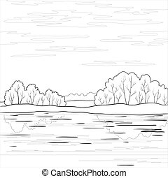 Forest coast, contour - landscape: forest, river and sky...