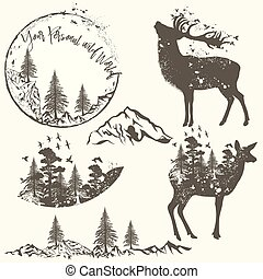 Forest collection of vector animals, trees and mountains.eps