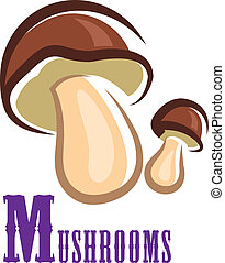 Forest colorful mushroom in cartoon style isolated on white ...