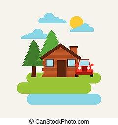 forest cottage house jeep car natural landscape