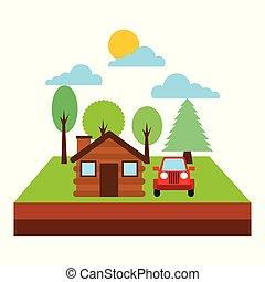 forest cottage house jeep natural landscape