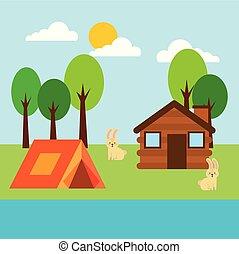 forest cottage house natural landscape