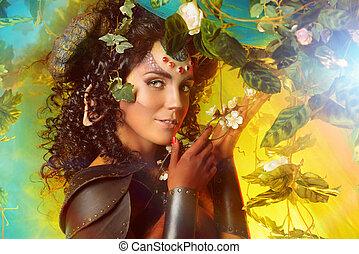 forest creature - Art portrait of a fabulous female Faun in...