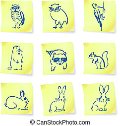 forest creatures drawings on post it notes original vector...