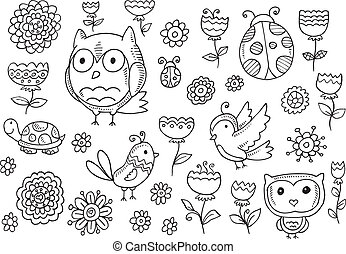 Forest creatures spring Flower Set