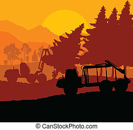 Forest cut down landscape with wood and heavy equipment...