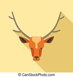 Forest deer icon, flat style