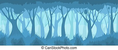 forest., dimmig, vektor, landskap.