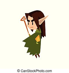 Forest elf boy in green clothes with wooden staff, cute fairytale magic character vector Illustration on a white background.
