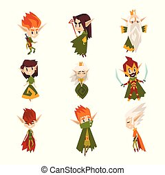 Forest elves set, fairytale magic characters in green clothes vector Illustrations on a white background