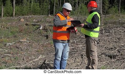 Forest engineer make signature in documents