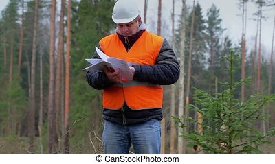 Forest engineer with documents
