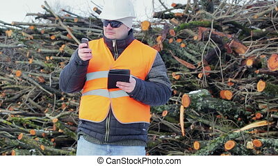 Forest engineer with tablet PC and cell phone near piles of...
