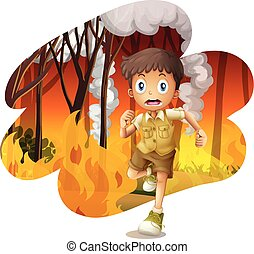 Forest explorer run awat from wildfire illustration