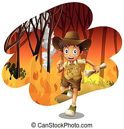 Forest Explorer Running from Wildfire illustration
