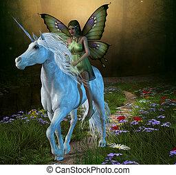 Forest Fairy and Unicorn - A fairy rides a white unicorn...