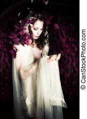 forest fairy - forest fairy in long white dress outdoor shot...