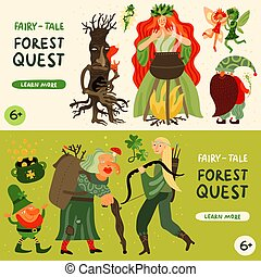Forest Fairy Tale Characters Banners Set