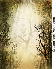 Forest - Fantasy charming  golden fairy forest with fog