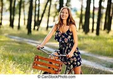 forest., feliz, menina, bicicleta