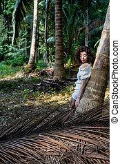 forest., femme tropicale, jeune, asiatique