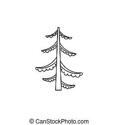 Forest fir tree icon, outline style