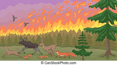Forest fire and fleeing animals. Natural disaster. -...