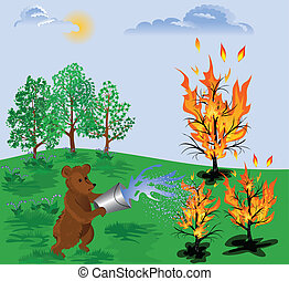forest fire - Bear cub pours water on a burning tree, trying...