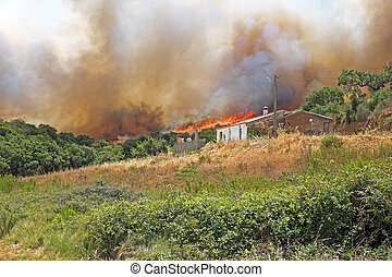 Forest fire burning a house in Portugal
