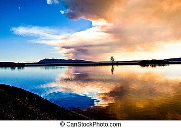 Forest Fire Clouds Over Lake Yellowstone