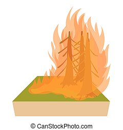 Forest fire icon, cartoon style