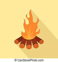 Forest fire icon, flat style
