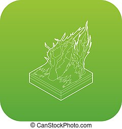 Forest fire icon green vector isolated on white background