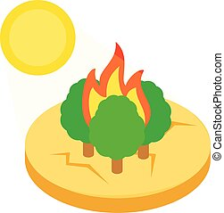 Forest fire icon, isometric style