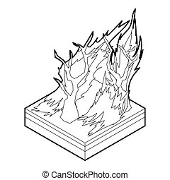 Forest fire icon, outline style
