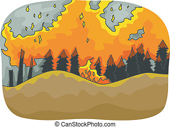 Forest Fire - Illustration Featuring a Long Stretch of Trees...