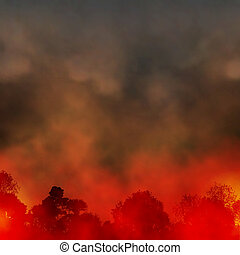 Forest fire - Editable vector EPS10 illustration of a smoky...