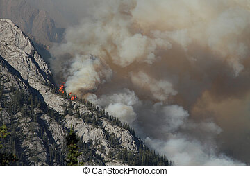 Forest Fire in the Rocky Mountains 02 - Huge flames burning...