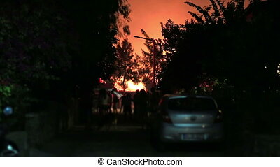 forest fire near houses