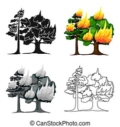 Forest fire vector icon in cartoon style for web - Forest...