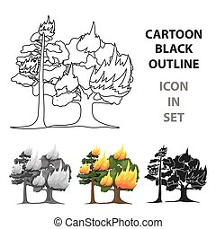 Forest fire vector icon in cartoon style for web