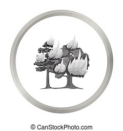 Forest fire vector icon in monochrome style for web - Forest...