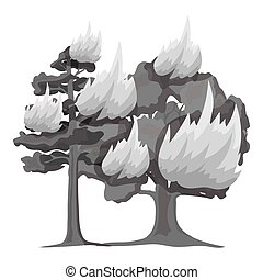 Forest fire vector icon in monochrome style for web