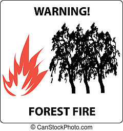 forest fire warning sign vector