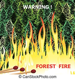 Forest fire, wildfire burning tree in red and orange color vector
